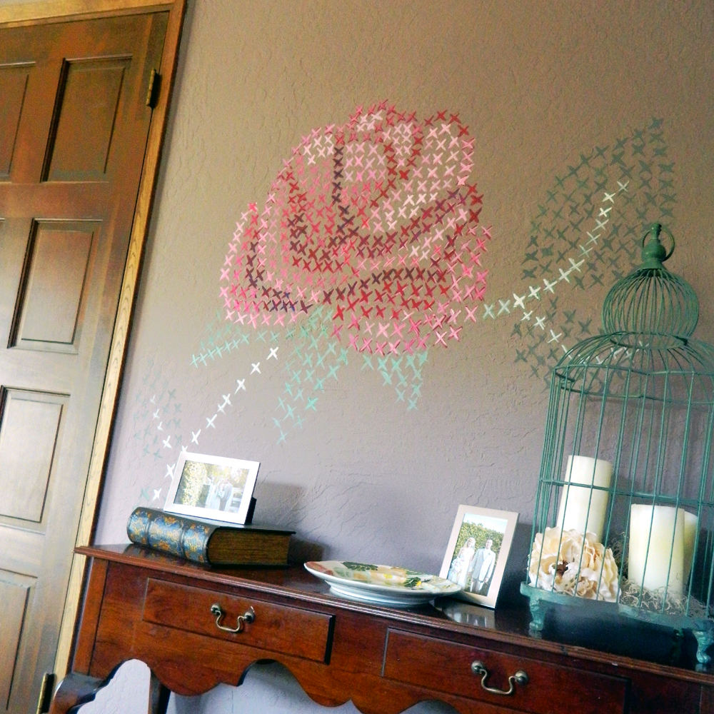 cross stitched painted wall diy 3