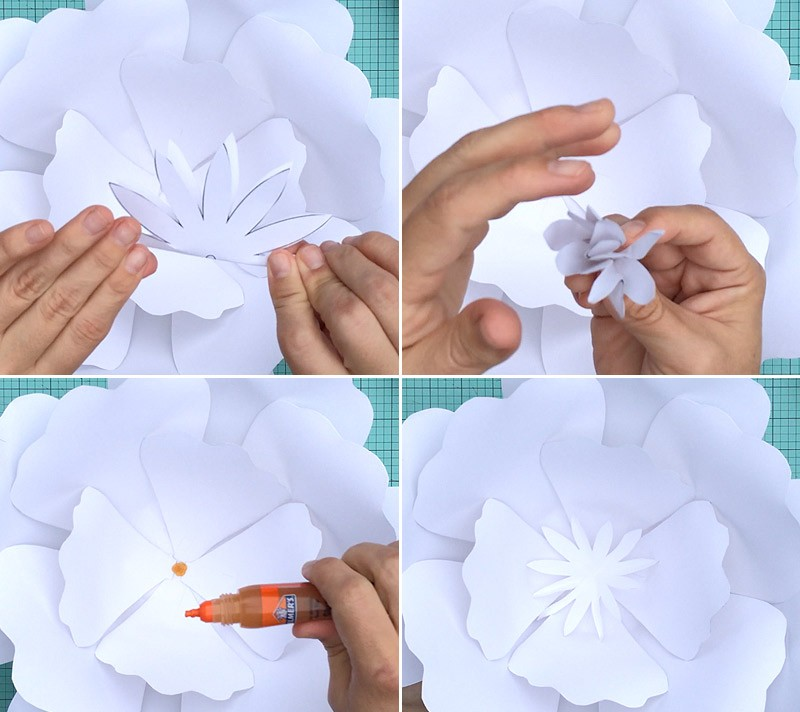 download-and-print-large-paper-rose-step-5-glue-middle-flower